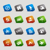 Cut Squares - Vacation icons. 16 vacation and travel icons set Royalty Free Illustration