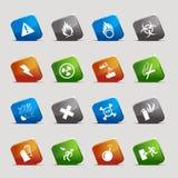 Cut Squares - warning icons. 16 warning and danger icons set Royalty Free Stock Images
