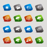 Cut Squares - Weather icons Royalty Free Stock Photography