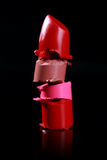 Cut and Stacked Lipsticks Close Up Stock Image