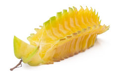Cut Starfruit, carambola on white. Background Royalty Free Stock Images