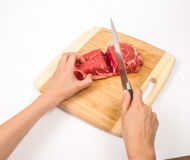 Cut the steak Stock Photography