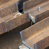 Cut steel beams. Details of cuts made in steel beams or girders Stock Photography