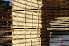 Cut in stock construction wooden plank Stock Photography