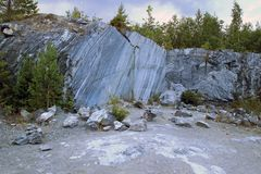 Marble quarry. Cut stone in a marble quarry Stock Photos