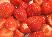 Cut Strawberries Stock Images