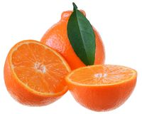 Cut tangerine citrus with leaves isolated. On white background stock images