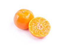 Cut tangerine. Isolated cut tangerine on a white background stock photos