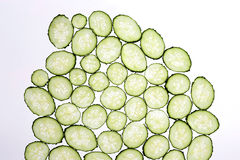 Cut thin slices of cucumber on a transparent white background Royalty Free Stock Photos