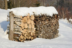 Cut timber. Big pile of cut timber in winter Stock Images