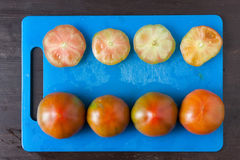 Cut tomatoes on a blue tray viewed from above. Stock Photos