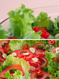 Cut tomatoes, fresh green salad and garlic Stock Photos