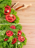 Cut tomatoes, green salad, garlic and paprika Stock Photos