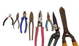 Cut tools pincers tongs collection on white Stock Photography