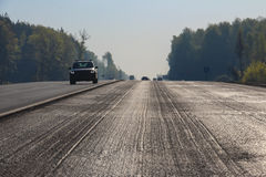 Cut of top asphalt layer Stock Photo