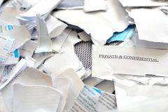 cut or torn private and confidential post mails Stock Photography