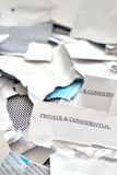 cut or torn private and confidential post mails Stock Images