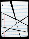 Cut Torn Up Ruled Notebook Paper Pieces. Pieces of a Cut or Torn Up piece of wide ruled Notebook Paper as a background Royalty Free Stock Photography