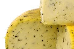 Cut traditional Gouda cheese with herbs Royalty Free Stock Image