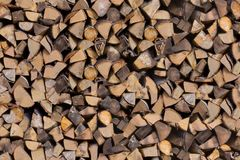 Cut tree ends stacked Stock Photography