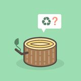 Cut of tree trunk pleading for recyclation. Vector illustration Stock Photography