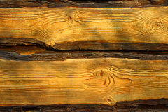 Cut of a tree. Wooden planks light brown around the edges with bark Stock Photography
