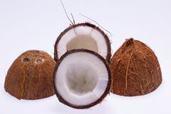 Cut coconut  on white background Royalty Free Stock Image