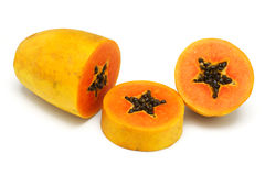 Cut up papaya fruit Stock Photos