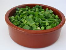 Cut up scallions. A brown rustic dish with cut up scallions Stock Image