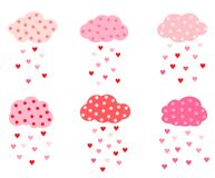 Cut vector set with clouds. With dots and hearts in pink and red colors for Valentine`s day greeting cards and invitations Stock Photo