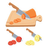 Cut vegetable and fruit. Set. Cut with a knife on a cutting board carrots, tomatoes, lemon. Cooking process vector illustration. Kitchenware and cooking Stock Image
