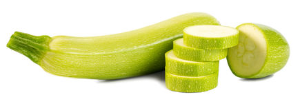 Cut vegetable marrows (zucchinis) isolated on white background Stock Images