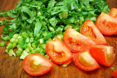 Cut Vegetables And Tomatoes Stock Photo