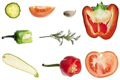 Cut vegetables collage. Collage of different slices of vegetables Stock Photography