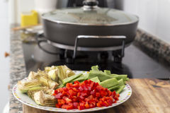 Cut vegetables for cooking Stock Photo