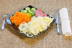 The cut vegetables on  a dish. Are beautifully decorated Royalty Free Stock Photography