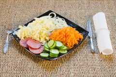The cut vegetables on  a dish. Are beautifully decorated Stock Image