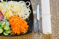 The cut vegetables on  a dish. Are beautifully decorated Stock Images