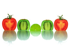 The cut vegetables and fruit, isolated on a white background Stock Image
