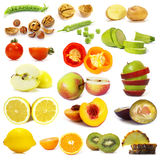 Cut vegetables and fruits collection Stock Photos
