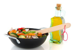 Cut vegetables in a frying pan Royalty Free Stock Photos