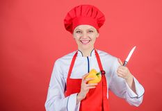 Cut vegetables like chef. Woman professional chef hold sharp knife. Ways to chop food like pro. Knife skills concept. Choose proper knife. Culinary basics royalty free stock images