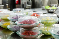 Cut Vegetables in Plastic Dishes Royalty Free Stock Image