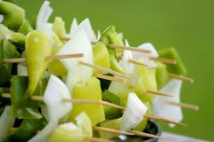 Cut Vegetables On Skewers Stock Images