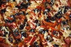 Cut vegetarian pizza Stock Photo