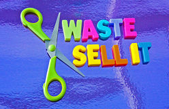 Cut waste and sell it. Text 'waste and sell it' in colorful uppercase letters alongside a pair of green handled scissors , concept of cutting waste and selling Royalty Free Stock Photos