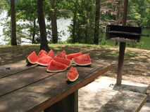 Cut watermelon stock photography