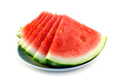 Cut watermelon. On the plate Royalty Free Stock Images