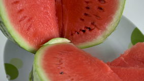 Cut watermelon on the table stock video footage