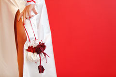 Cut of wedding dress and silk handbag. Cut of white wedding dress and beautiful silk handbag on red background Stock Image